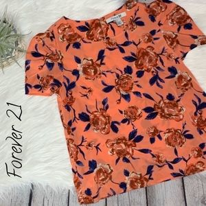 Forever 21 Orange Puff Sleeve Roses Blouse